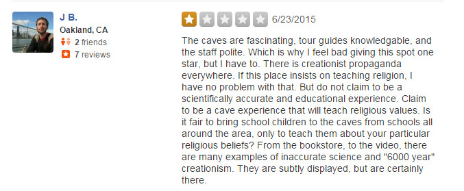 indiana caverns - negative review because creationism