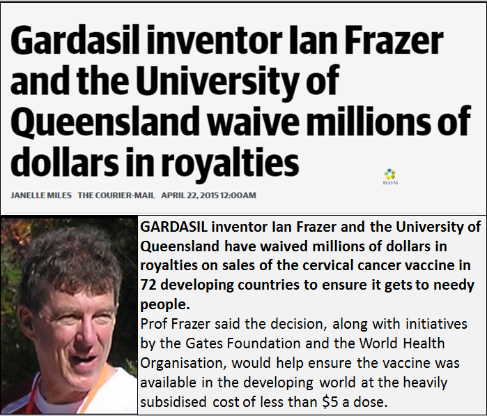 mindsoap - gardasil inventer waives millions in royalties