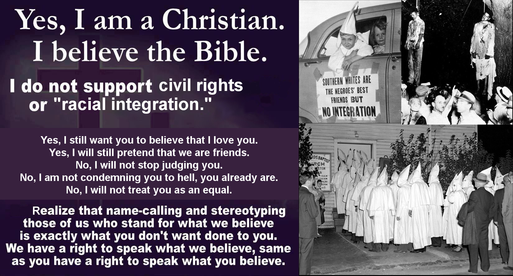 honest christian meme - i am a christian, i believe in the bible - 1964 civil rights