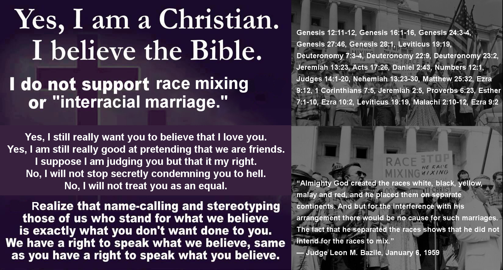 honest christian meme - i am a christian, i believe in the bible - 1967 interracial marriage