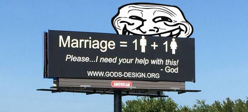gods original design ministry, traditional marriage billboard 0 - honest christian memes