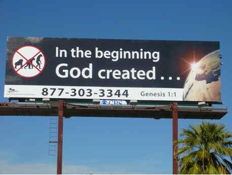 suviving jesusland - anti evolution billboard